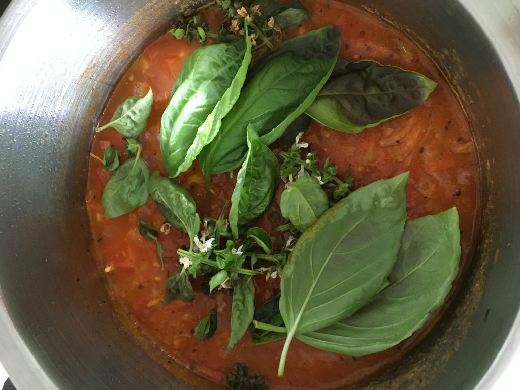 Spaghetti Sauce with Home Grown Basil Leaves