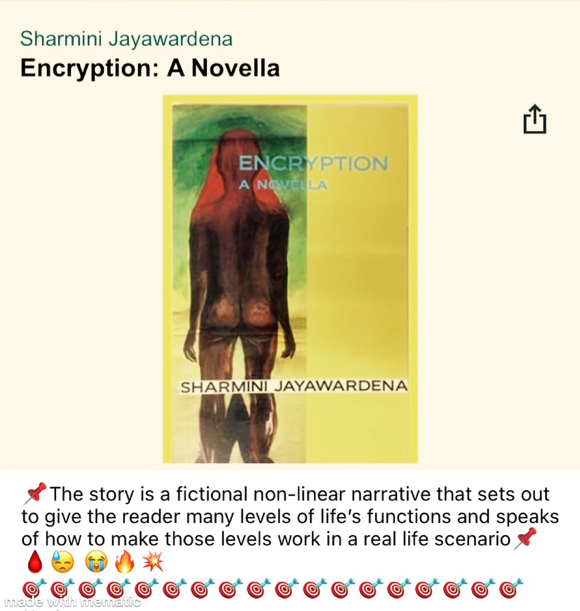 BUY MY BOOK ON AMAZON.COM - ENCRYPTION: A NOVELLA BY SHARMINI JAYAWARDENA